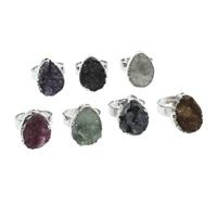 Druzy Finger Ring, Eisquarz Achat, mit Zinklegierung, Tropfen, silberfarben plattiert, natürliche & druzy Stil & einstellbar, keine, 15x21x7mm-16x22x10mm, Größe:8, 10PCs/Tasche, verkauft von Tasche
