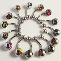 Edelstahl -Bauch-Ring, gemischtes Muster & Epoxy Aufkleber, 1.6mm, 10mm, 8mm, 5mm, 50PCs/Menge, verkauft von Menge