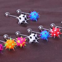 Edelstahl Zungenring, mit Acryl, gemischte Farben, 5mm, 8mm, 10PCs/Menge, verkauft von Menge