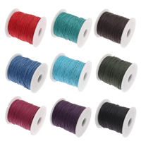 Wachsschnur, Gewachsten Baumwollkordel, mit Kunststoffspule, gemischte Farben, 1mm, 10Spulen/Tasche, 100HofHof/Spule, verkauft von Tasche