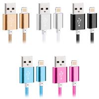 Zinklegierung Datenkabel, mit Nylonschnur, Platinfarbe platiniert, für iPhone SAMSUNG & unterschiedliche Länge der Wahl, gemischte Farben, 5SträngeStrang/Menge, verkauft von Menge