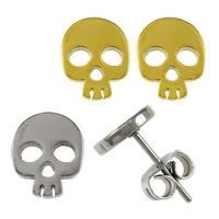 Edelstahl Ohrringe, Schädel, plattiert, keine, 7x9x11mm, verkauft von Paar