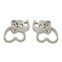 Edelstahl Ohrringe, Elephant, plattiert, keine, 10.50x8.50x11mm, verkauft von Paar