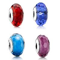 Lampwork Perlen European Stil, Rondell, handgemacht, Sterling Silber-Dual-Core ohne troll & facettierte, keine, 9x14mm, Bohrung:ca. 4mm, verkauft von PC