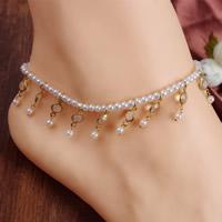 ABS-Kunststoff-Perlen Fußkettchen, mit Kristall, facettierte, weiß, 70mm, Länge:ca. 8 ZollInch, 3SträngeStrang/Tasche, verkauft von Tasche