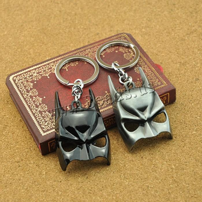 Zinklegierung Schlüsselanhänger, mit Eisen Ring, Bat Man-Maske, plattiert, keine, frei von Blei & Kadmium, 35x50mm, Bohrung:ca. 26mm, Länge:ca. 3-3.5 ZollInch, 5SträngeStrang/Tasche, verkauft von Tasche