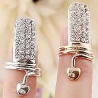 Zink-Legierung Nail -Finger-Ring, Zinklegierung, plattiert, mit Strass, keine, frei von Nickel, Blei & Kadmium, 15x30mm, Größe:2, verkauft von PC