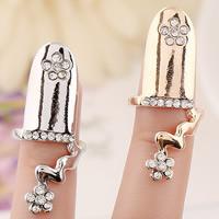 Zink-Legierung Nail -Finger-Ring, Zinklegierung, Blume, plattiert, mit Strass, keine, frei von Nickel, Blei & Kadmium, 38x10mm, Größe:3, verkauft von PC