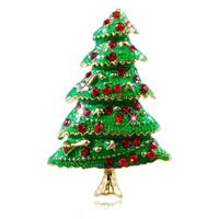 Weihnachten Broschen, Zinklegierung, Weihnachtsbaum, goldfarben plattiert, Weihnachtsschmuck & Emaille & mit Strass, grün, frei von Nickel, Blei & Kadmium, 49x33mm, 6PCs/Tasche, verkauft von Tasche