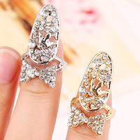 Zink-Legierung Nail -Finger-Ring, Zinklegierung, Schleife, plattiert, mit Strass, keine, frei von Nickel, Blei & Kadmium, 28x15mm, Größe:2, verkauft von PC