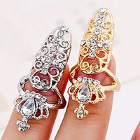 Zink-Legierung Nail -Finger-Ring, Zinklegierung, mit Glas, Krone, plattiert, facettierte & mit Strass, keine, frei von Nickel, Blei & Kadmium, 55x18mm, Größe:2, verkauft von PC