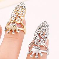 Zink-Legierung Nail -Finger-Ring, Zinklegierung, Krone, plattiert, mit Strass, keine, frei von Nickel, Blei & Kadmium, 31x15mm, Größe:2, verkauft von PC