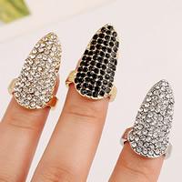 Zink-Legierung Nail -Finger-Ring, Zinklegierung, plattiert, mit Strass, keine, frei von Nickel, Blei & Kadmium, 26x15mm, Größe:2, verkauft von PC