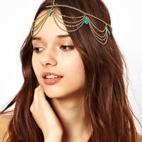 Synthetische Türkis Kopf-Kette, mit Eisenkette, goldfarben plattiert, Twist oval, 540mm, Länge:ca. 21 ZollInch, 3SträngeStrang/Tasche, verkauft von Tasche