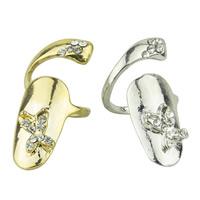 Zink-Legierung Nail -Finger-Ring, Zinklegierung, Schmetterling, plattiert, mit Strass, keine, frei von Nickel, Blei & Kadmium, 32x12mm, Größe:3, verkauft von PC