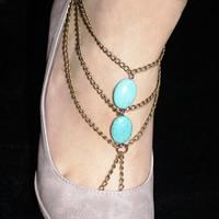 Mode Toe Fußkette, Eisen, mit Synthetische Türkis, mit Verlängerungskettchen von 6cm, flachoval, goldfarben plattiert, Twist oval, frei von Nickel, Blei & Kadmium, 220mm, verkauft per ca. 8.5 ZollInch Strang