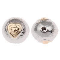 Zinklegierung Herz Perlen, rund, plattiert, mit einem Muster von Herzen & zweifarbig, frei von Blei & Kadmium, 10mm, Bohrung:ca. 1mm, 10PCs/Tasche, verkauft von Tasche