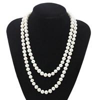 Natürliche Süßwasser Perle Halskette, Natürliche kultivierte Süßwasserperlen, Messing Schnappschließe, Kartoffel, weiß, 9mm, verkauft per ca. 41 ZollInch Strang