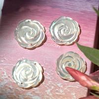 Weiße Muschel Schmuckverbinder, Blume, natürlich, 1/1-Schleife, 16mm, Bohrung:ca. 1mm, 10PCs/Menge, verkauft von Menge