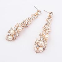 Zinklegierung Tropfen Ohrring, mit ABS-Kunststoff-Perlen, Edelstahl Stecker, goldfarben plattiert, mit Strass, frei von Nickel, Blei & Kadmium, 61x15mm, verkauft von Paar
