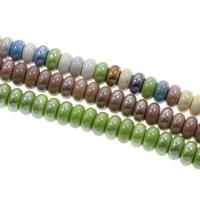 Glasierte Porzellan Perlen, Rondell, glaciert, keine, 10x5mm, Bohrung:ca. 2mm, 100PCs/Tasche, verkauft von Tasche