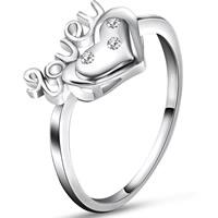 Zirkonia Micro Pave Sterling Silber Ringe, 925 Sterling Silber, Herz, Wort Liebe, platiniert, verschiedene Größen vorhanden & Micro pave Zirkonia, 10x12.5mm, 3PCs/Tasche, verkauft von Tasche