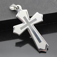 Edelstahl-Kreuz- Anhänger, Edelstahl, originale Farbe, 33x52mm, Bohrung:ca. 3-5mm, 3PCs/Tasche, verkauft von Tasche