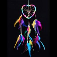 Fashion Dreamcatcher, Eisen, mit Feder & Nylonschnur, Herz, farbenfroh, 130x550mm, 100-150mm, 2PCs/Tasche, verkauft von Tasche