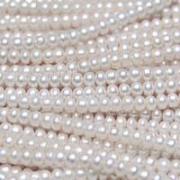 Button kultivierte Süßwasserperlen, Natürliche kultivierte Süßwasserperlen, Knopf, natürlich, verschiedene Größen vorhanden, weiß, Bohrung:ca. 0.8mm, verkauft per ca. 15.5 ZollInch Strang