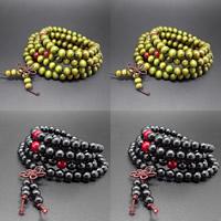 108 Mala Perlen, Holz, mit Roter Achat, buddhistischer Schmuck & 4-Strang, keine, 8mm, 108PCs/Strang, verkauft per ca. 25-28 ZollInch Strang