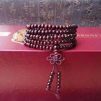 108 Mala Perlen, Sandelholz, buddhistischer Schmuck & 5-litzig, violett, 850mm, 108PCs/Strang, verkauft per ca. 33 ZollInch Strang