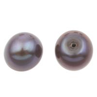 Halbgebohrte Süßwasser Zuchtperlen, Natürliche kultivierte Süßwasserperlen, Knopf, dunkelviolett, 8.5-9mm, Bohrung:ca. 1mm, verkauft von Paar