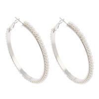 Eisen Kreolen, mit ABS-Kunststoff-Perlen, Platinfarbe platiniert, weiß, frei von Nickel, Blei & Kadmium, 54x55x3mm, verkauft von Paar