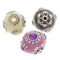 Indonesien Perlen, mit Zinklegierung, rund, antik silberfarben plattiert, mit Strass, keine, 20x21mm, Bohrung:ca. 2mm, 100PCs/Tasche, verkauft von Tasche