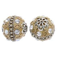 Indonesien Perlen, mit Zinklegierung, rund, plattiert, mit Strass, 25x23mm, Bohrung:ca. 1mm, 50PCs/Tasche, verkauft von Tasche