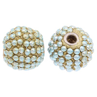 Indonesien Perlen, mit Zinklegierung, rund, silberfarben plattiert, buntes Pulver, 19x21mm, Bohrung:ca. 5mm, 100PCs/Tasche, verkauft von Tasche