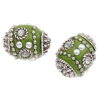 Indonesien Perlen, mit Zinklegierung, oval, plattiert, mit Strass, 19x15mm, Bohrung:ca. 1mm, 100PCs/Tasche, verkauft von Tasche