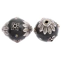 Indonesien Perlen, mit Zinklegierung, oval, antik silberfarben plattiert, mit Strass, 24x20mm, Bohrung:ca. 2mm, 100PCs/Tasche, verkauft von Tasche