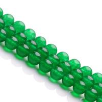 Grüner Chalcedon Perle, rund, natürlich, verschiedene Größen vorhanden, Bohrung:ca. 1mm, verkauft per ca. 15.5 ZollInch Strang