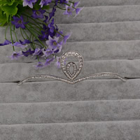 Krone, Zinklegierung, Platinfarbe platiniert, für Braut & mit Strass, frei von Blei & Kadmium, 140mm, 3PCs/Tasche, verkauft von Tasche