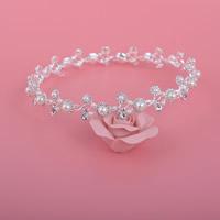 Krone, Zinklegierung, mit ABS-Kunststoff-Perlen, silberfarben plattiert, für Braut & mit Strass, frei von Blei & Kadmium, 155mm, 3PCs/Tasche, verkauft von Tasche