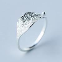 925 Sterling Silber Manschette Fingerring, Blatt, offen, 7mm, Größe:8, 5PCs/Menge, verkauft von Menge