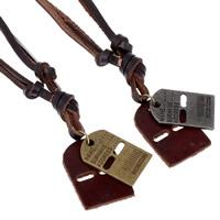 Kuhhaut Pullover Halskette, mit Zinklegierung, plattiert, einstellbar & mit einem Muster von Nummer & mit Brief Muster & für den Menschen, keine, 4mm, verkauft per ca. 27 ZollInch Strang