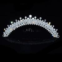 Braut Dekoratives Haarkämmchen, Zinklegierung, mit Kristall, silberfarben plattiert, für Braut & facettierte, frei von Blei & Kadmium, 140mm, 3PCs/Tasche, verkauft von Tasche