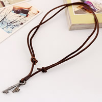 Rindleder Halskette, Kuhhaut, mit Zinklegierung, Schlüssel, plattiert, einstellbar, 3mm, Länge:ca. 15 ZollInch, 2SträngeStrang/Menge, verkauft von Menge