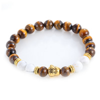 Natürliche Tiger Eye Armband, Tigerauge, mit Natürlicher weißer Türkis & Zinklegierung, Buddha, antike Goldfarbe plattiert, 8mm, verkauft per ca. 7.5 ZollInch Strang