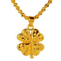 24 k-Gold überzogene hängende Farbe, Messing, vierblättriges Kleeblatt, 24 K vergoldet, Blume Schnitt & Vakuum Protektor Farbe, 16x20mm, Bohrung:ca. 3x5mm, 10PCs/Menge, verkauft von Menge