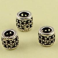 Messing hohle Perlen, Zylinder, antik silberfarben plattiert, frei von Blei & Kadmium, 4.85mm, Bohrung:ca. 1mm, 10PCs/Tasche, verkauft von Tasche