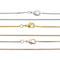 Messingkette Halskette, Messing, plattiert, Schlangekette, keine, frei von Nickel, Blei & Kadmium, 1mm, Länge:ca. 17.5 ZollInch, 50SträngeStrang/Tasche, verkauft von Tasche