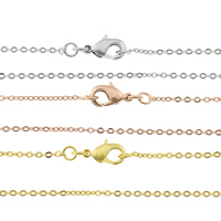 Messingkette Halskette, Messing, plattiert, Oval-Kette, keine, frei von Nickel, Blei & Kadmium, 1.20x0.20mm, verkauft per ca. 18 ZollInch Strang
